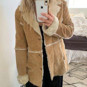Vintage 90s suede leather faux fur penny lane coat